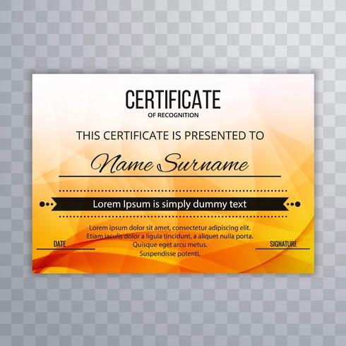 Vecteur de modèle de certificat abstrait polygone coloré