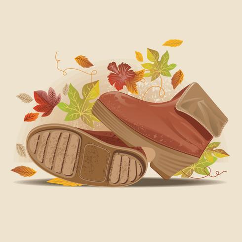 Bouchent la vue des bottes d'automne élégant sur la route poussiéreuse vecteur