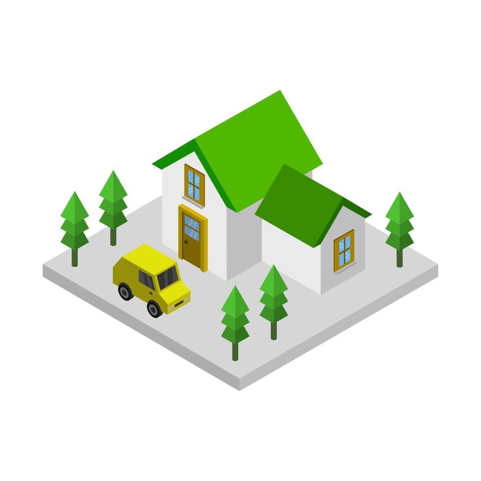 maison isométrique sur fond blanc vecteur