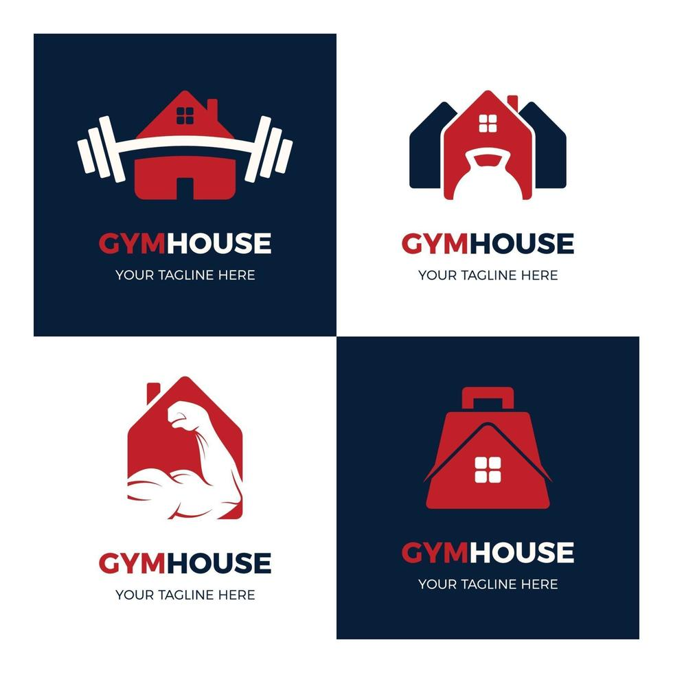 ensemble de logos de maison de gym simples et modernes vecteur