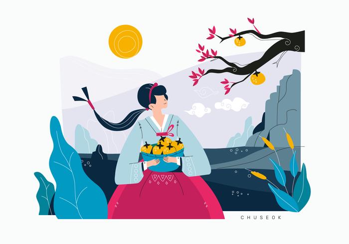 Cute Girl célébrant le festival de la récolte coréenne Vector Flat Illustration Background