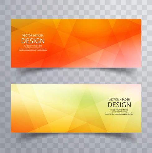 Bannières géométriques colorées lumineuses modernes vecteur