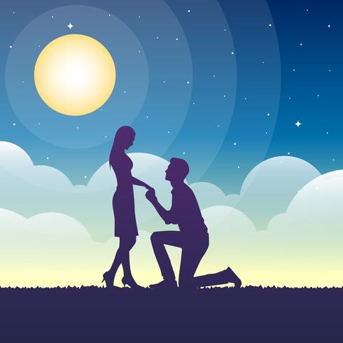 Illustration d'engagement romantique vecteur