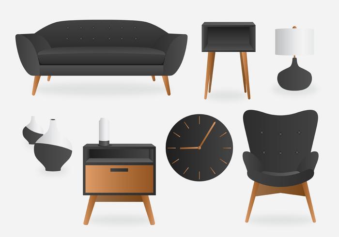 Pack de vecteur intérieur minimaliste gris réaliste