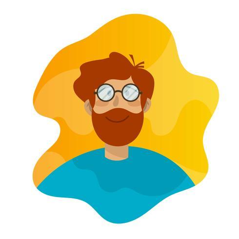 Plat garçon à lunettes vintage avatar illustration vectorielle vecteur