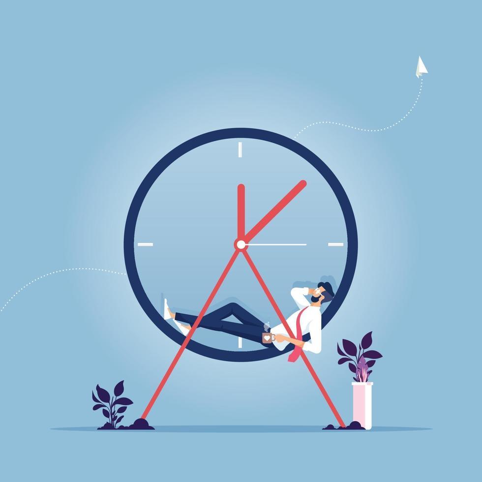 temps de repos. homme d'affaires tenant les mains derrière la tête et se détendre sur l'horloge. concept de temps de pause vecteur