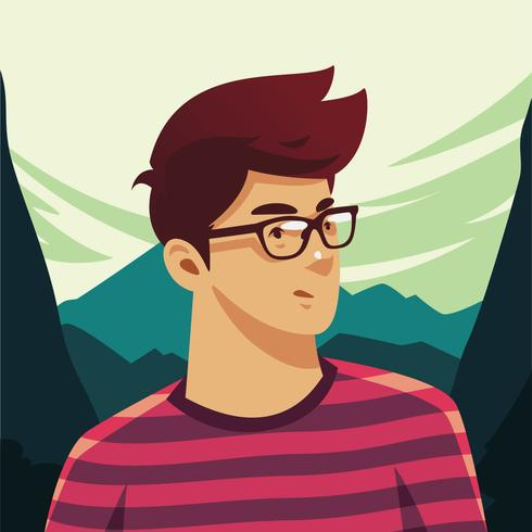 garçon avec des lunettes vecteur