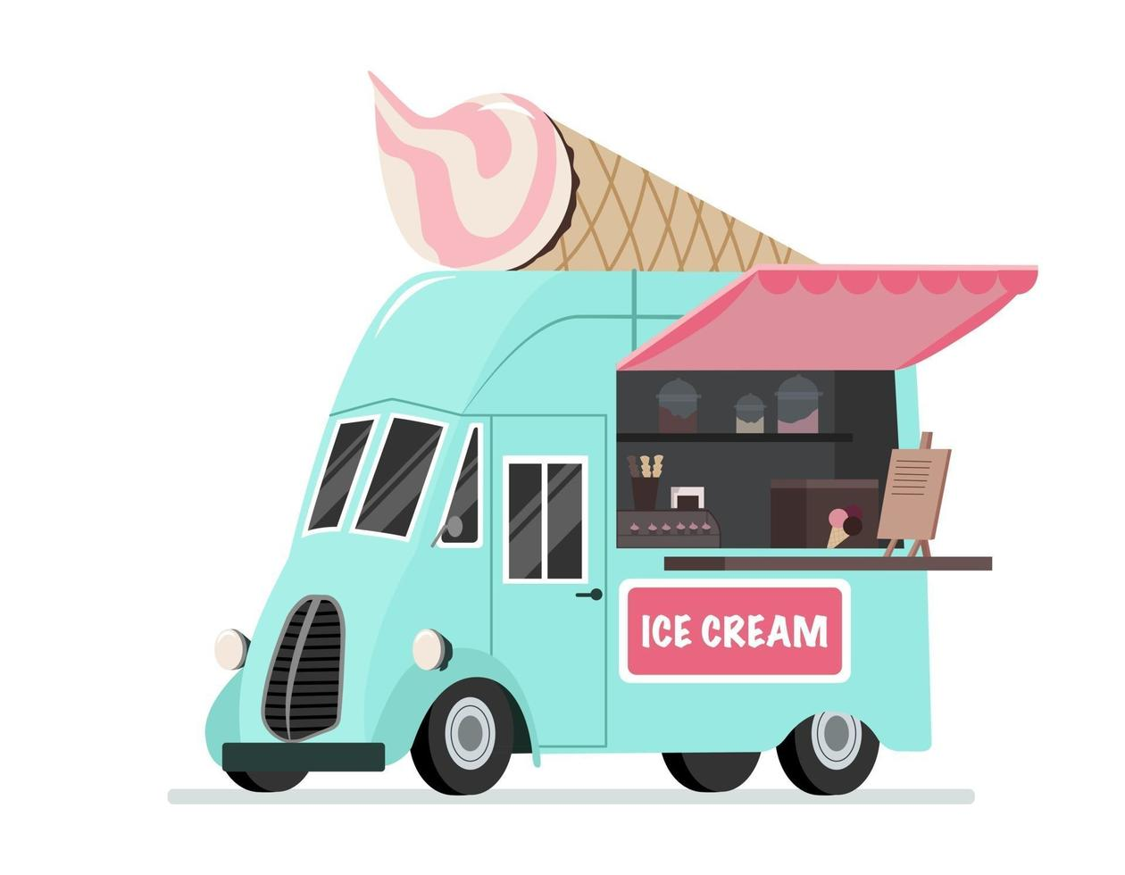 camion de crème glacée. restauration rapide de rue. vecteur