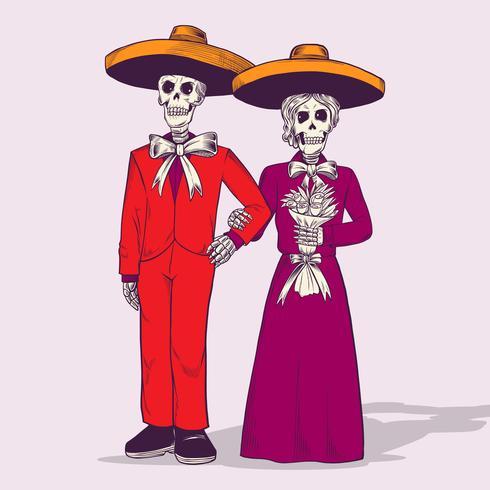 Le squelette jour de la mort mariage illustration vectorielle vecteur