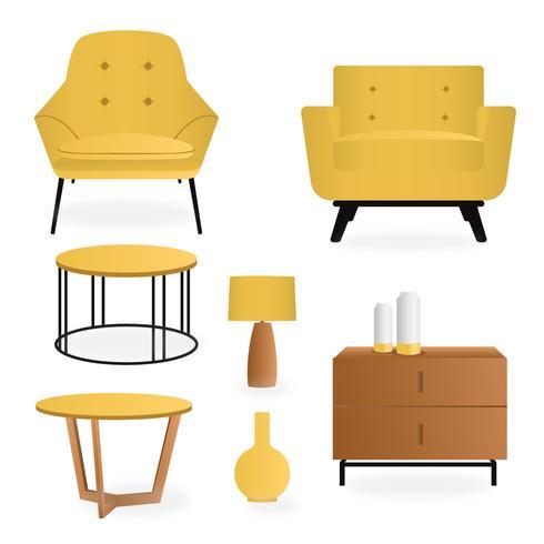 Pack de mobilier d'intérieur réaliste vecteur