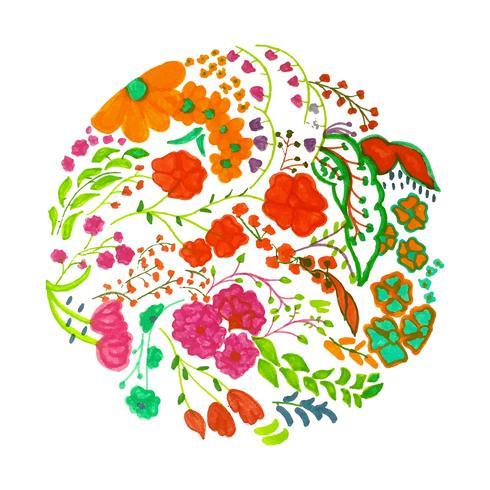 Fond floral coloré aquarelle moderne vecteur
