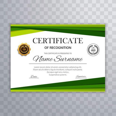 Certificat avec le vecteur d'éléments de conception vague verte
