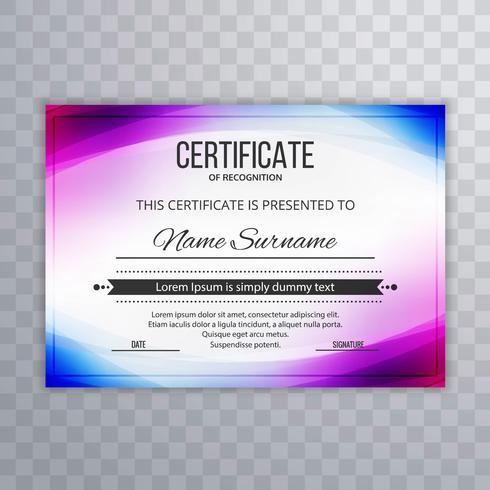 Certificat Premium Template Awards Diplôme de vague colorée illust vecteur