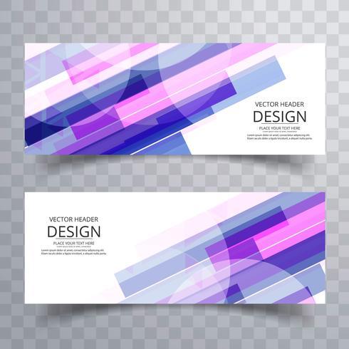 Modèle de conception de bannières colorées abstraites vecteur