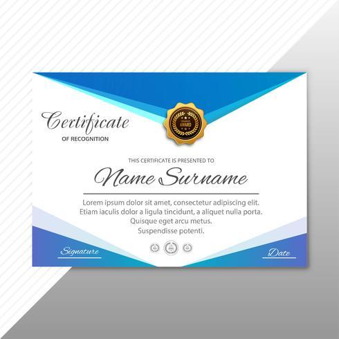 Modèle de diplôme de certificat élégant élégant avec ve design vecteur