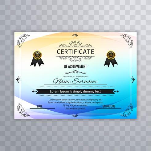 Modèle de certificat abstrait coloré vecteur