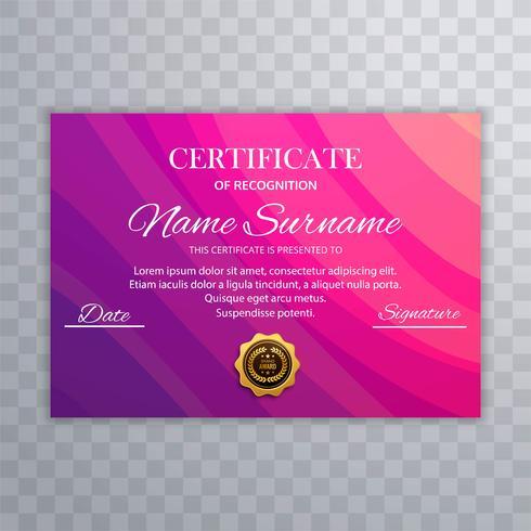 Modèle de certificat coloré beau certificat diplôme vecteur