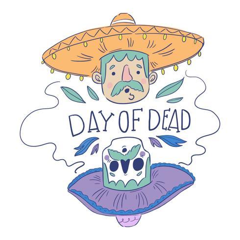 Homme mexicain mignon et crâne de sucre vecteur
