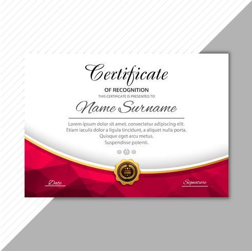 Arrière-plan du modèle de certificat certificat élégant abstrait vecteur