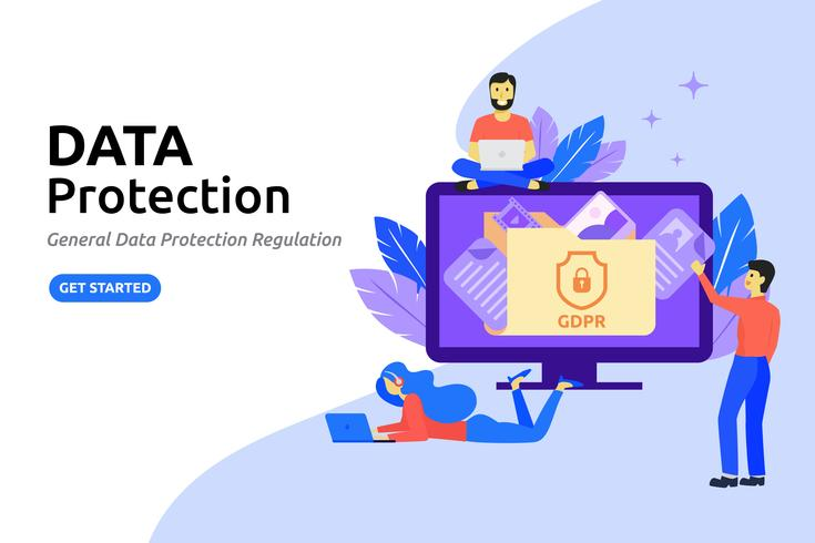 Concept de design plat moderne de protection des données. Protéger da en ligne vecteur