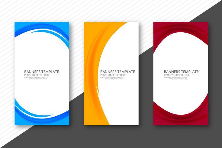 Modèle de conception des bannières vague élégante colorée abstraite vecteur