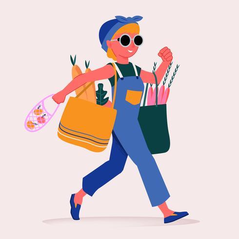 Jolie femme transportant un sac de papier d'épicerie pleine d'illustrations d'aliments sains vecteur