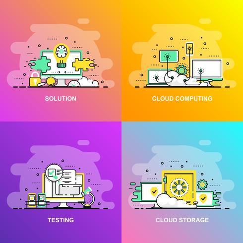 Bannière Web de concept moderne ligne plate dégradé lisse de Test, Solution, Cloud Computing et Cloud Storage vecteur