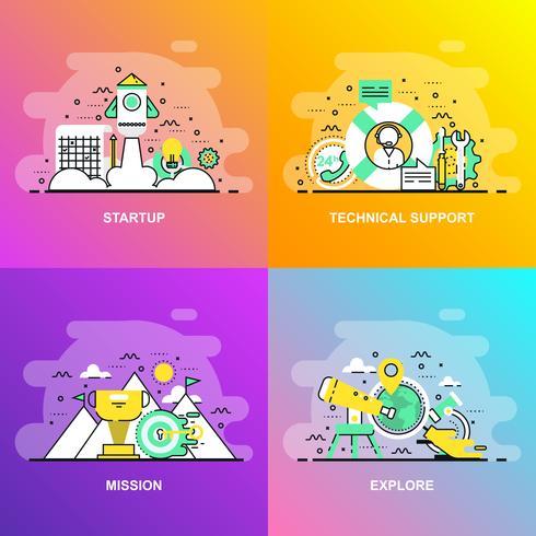 Bannière Web de concept de ligne plate moderne à gradient lisse de support technique, mission, exploration et mise en route vecteur