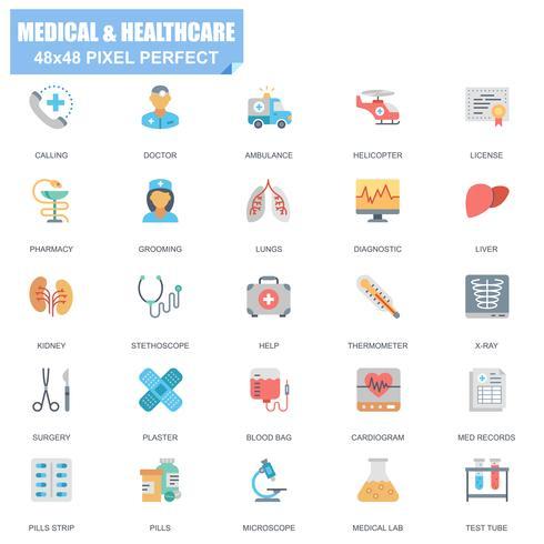 Ensemble simple d'icônes plats vectoriels médicaux et de soins de santé vecteur