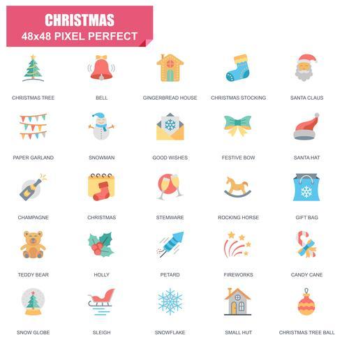 Ensemble simple de Noël icônes vectorielles associés plat vecteur
