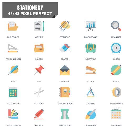 Ensemble simple de papeterie associés Vector Icons plats