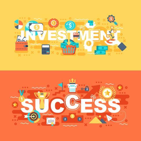 Ensemble investissement et succès du concept plat vecteur