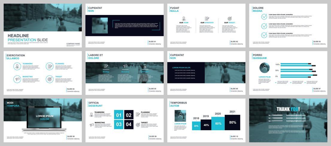 Présentation de l'entreprise PowerPoint diapositives modèles à partir d'éléments infographiques ...