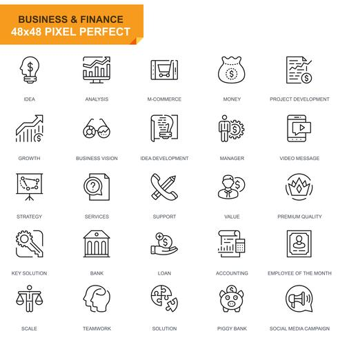 Icônes de ligne Simple Set Business et Finance pour site Web et applications mobiles vecteur