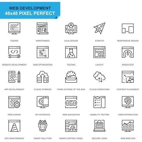 Icônes de ligne de conception et de développement Web de jeu simple pour site Web et applications mobiles vecteur