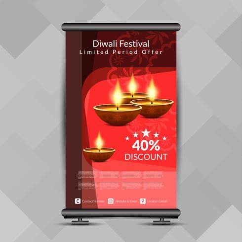 Résumé Diwali heureux retrousser le modèle de conception de bannière vecteur