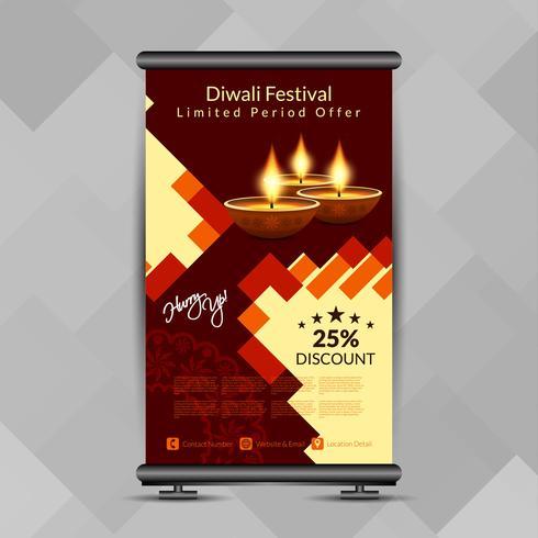 Résumé élégant Diwali heureux retrousser le modèle de conception de bannière vecteur