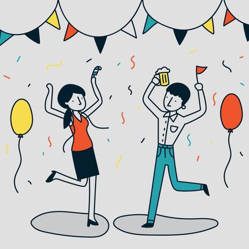 Illustration Drole D Un Couple Faisant La Fete Telecharger Vectoriel Gratuit Clipart Graphique Vecteur Dessins Et Pictogramme Gratuit