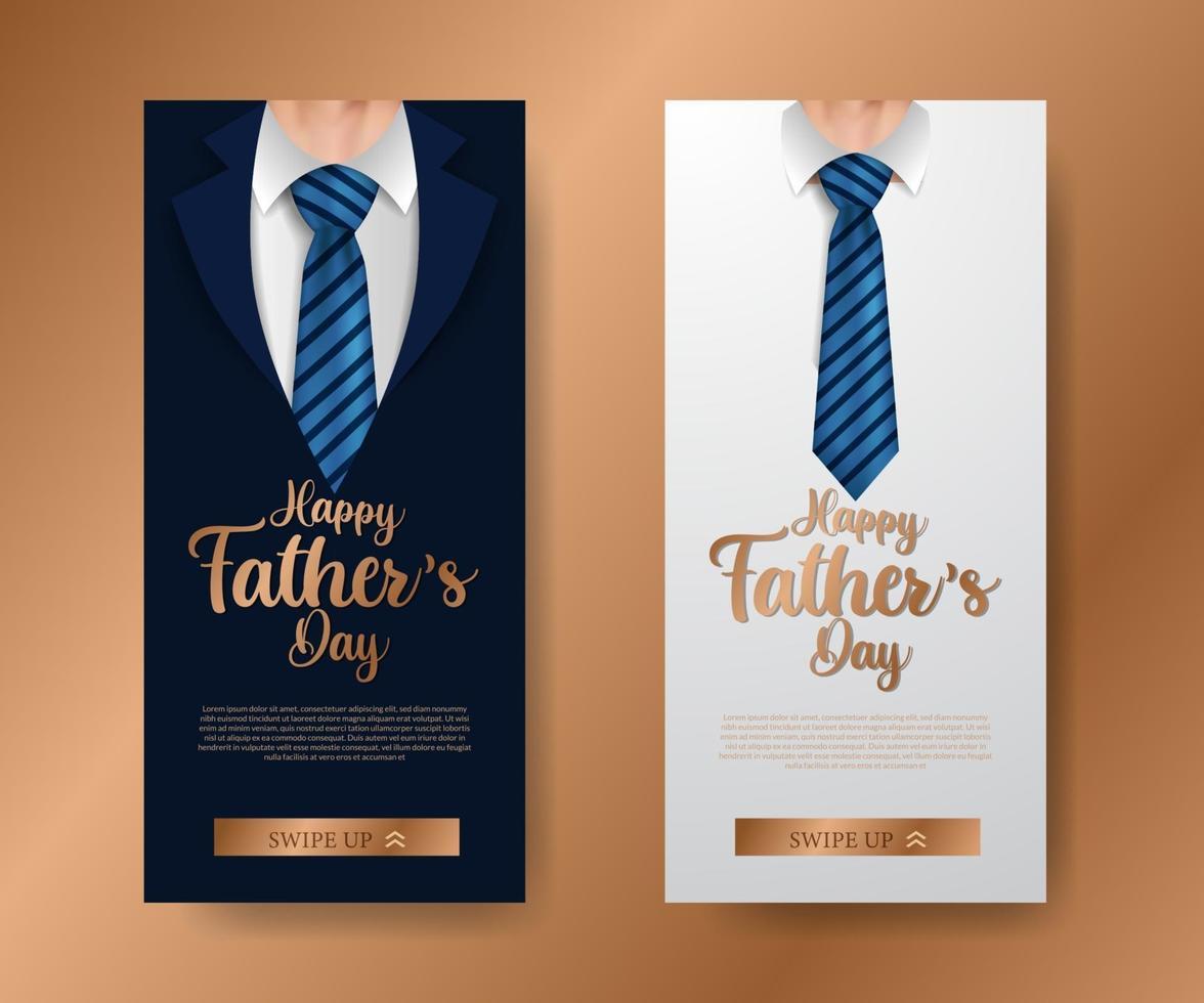 Invitation de bannière d'histoires de médias sociaux de luxe élégant à la mode pour la fête des pères avec illustration de cravate de manteau avec texte doré vecteur