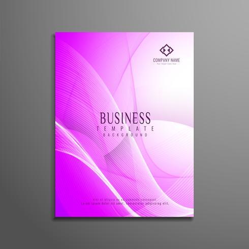 Conception de modèle de flyer abstrait affaires ondulées rose vecteur