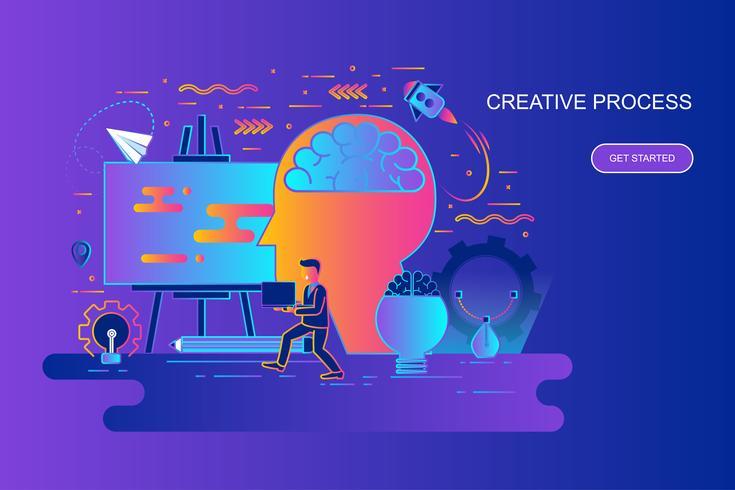 Bannière web concept moderne ligne plate gradient du processus créatif avec le caractère décoré de petit peuple Modèle de page de destination. vecteur
