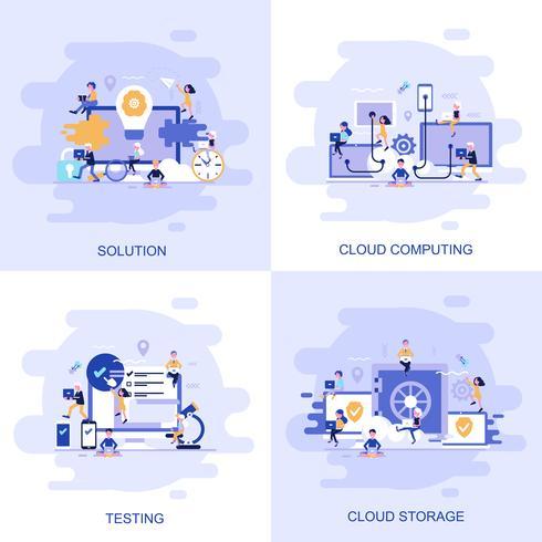 Bannière web concept plat moderne de Testing, Solution, Cloud Computing et Cloud Storage avec le personnage décoré de petites personnes. vecteur