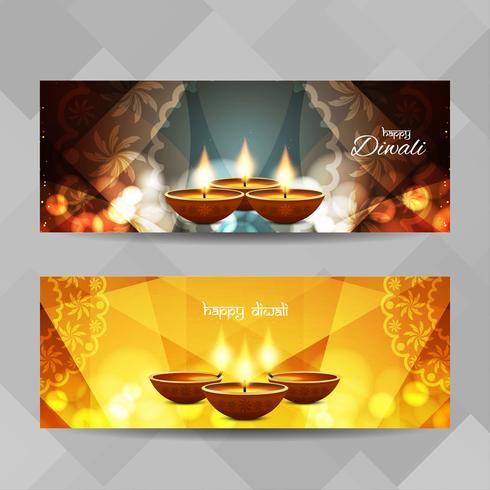 Jeu de bannières Happy Diwali abstraite vecteur