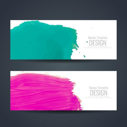 Jeu de bannières aquarelle colorée abstraite vecteur