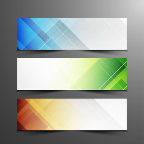 Jeu de bannières géométriques élégantes abstraites colorées vecteur