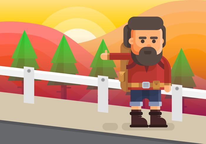 Illustration de randonneur auto-stop. Caractère de jeune homme pour un voyage en stop. vecteur
