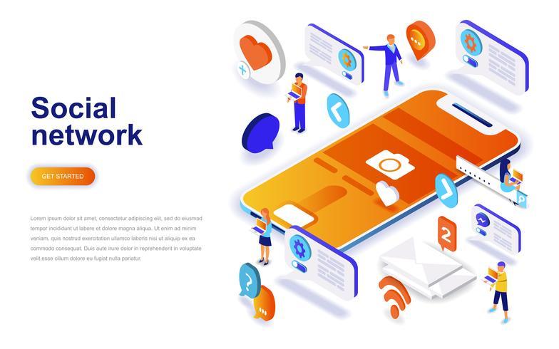 Concept isométrique de design plat moderne réseau social. Concept de communication et de personnes. Modèle de page de destination. vecteur