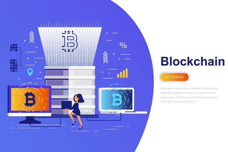 Cryptocurrency et bannière web plate concept blockchain moderne avec caractère décoré de petit peuple. Modèle de page de destination. vecteur