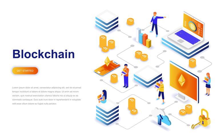 Concept isométrique de Blockchain design plat moderne. Concept de crypto-monnaie et de personnes. Modèle de page de destination. vecteur