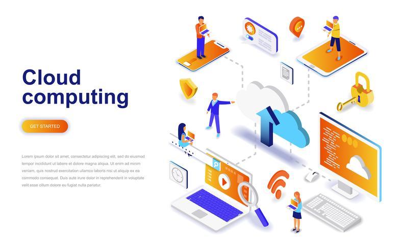 Concept informatique isométrique de design plat moderne en nuage. Concept de technologie et de gens d'affaires. Modèle de page de destination. vecteur
